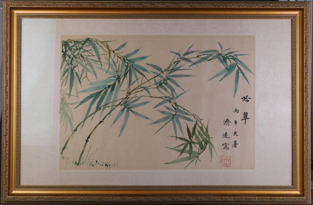 Chinese Bamboo Ink on Paper Painting, Wang JiYuan