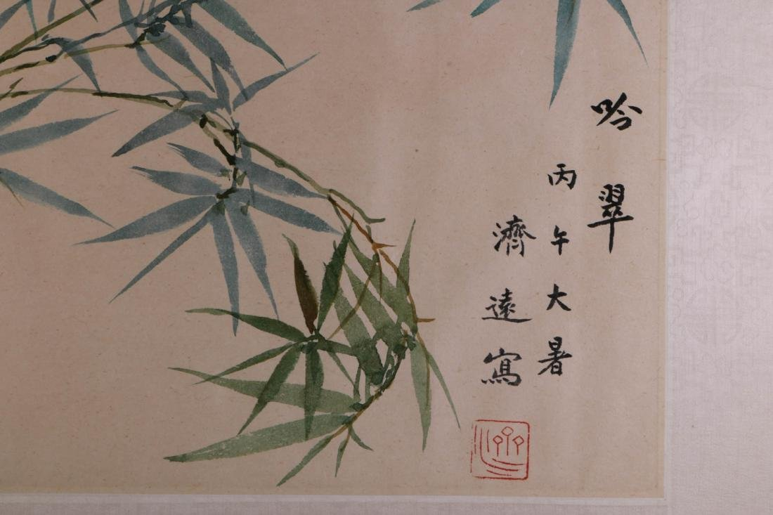 Chinese Bamboo Ink on Paper Painting, Wang JiYuan - 3
