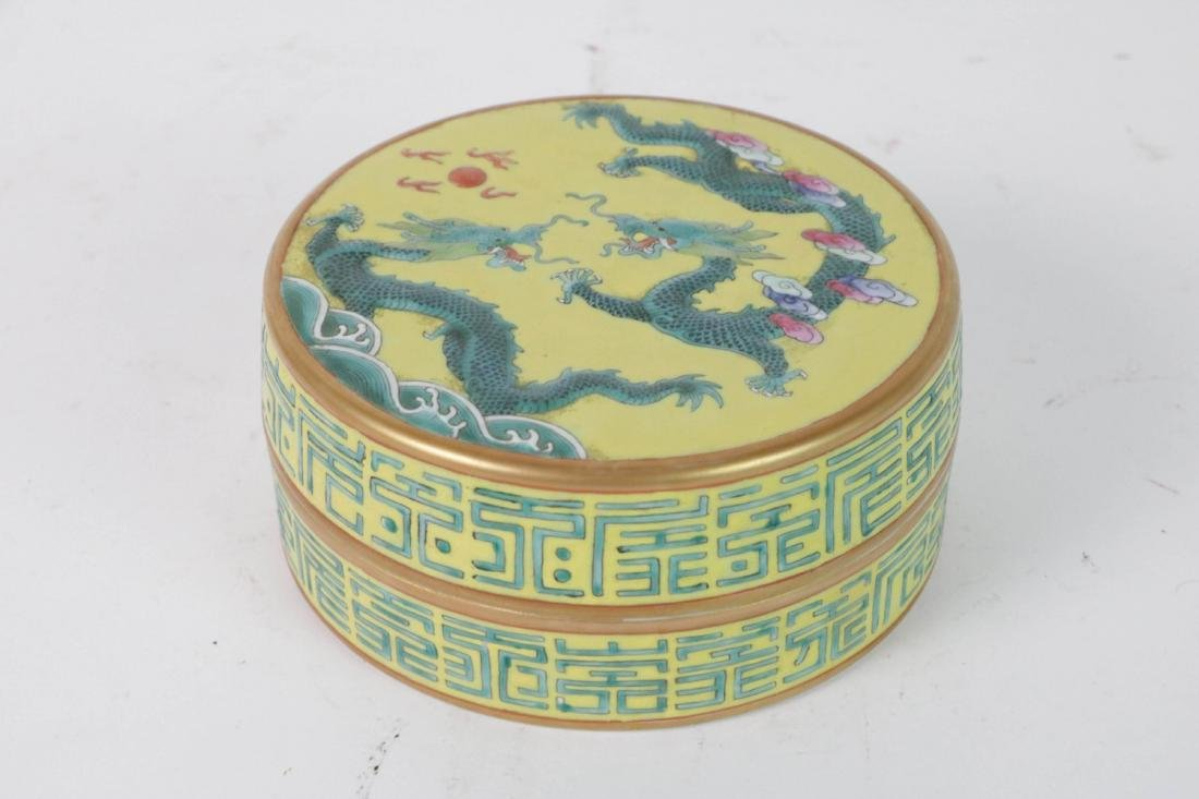 Chinese Porcelain Round Box with Base
