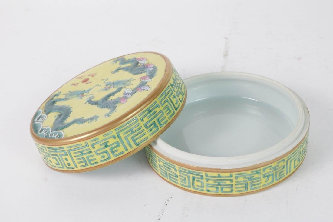 Chinese Porcelain Round Box with Base - 2