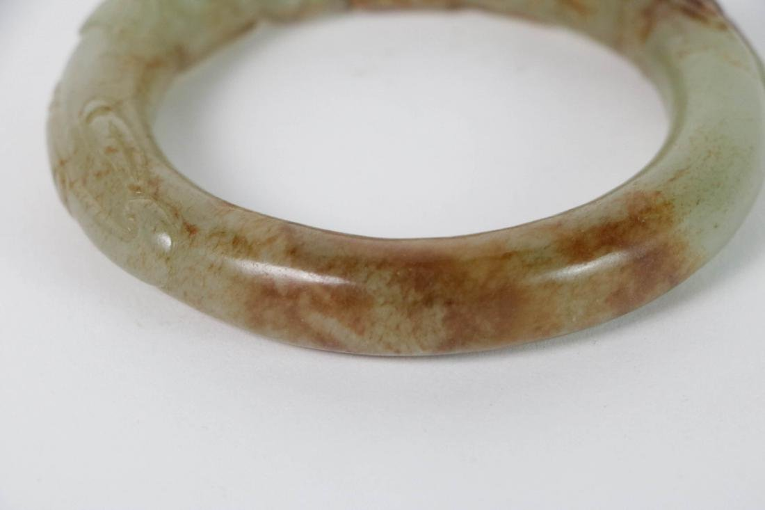 Chinese Double Dragone Jade Bangle - 4