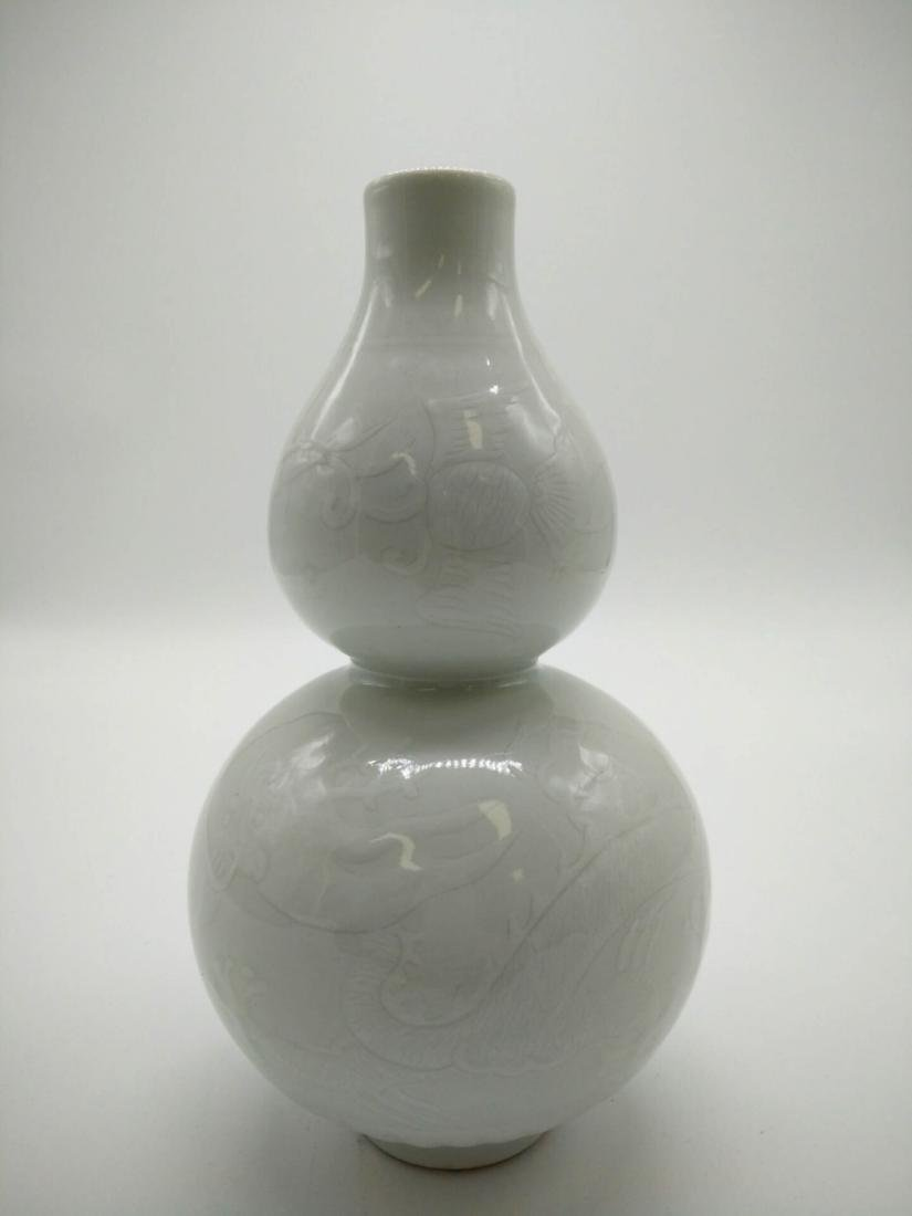 Chinese White Glaze Porcelain Gourd Vase - 2