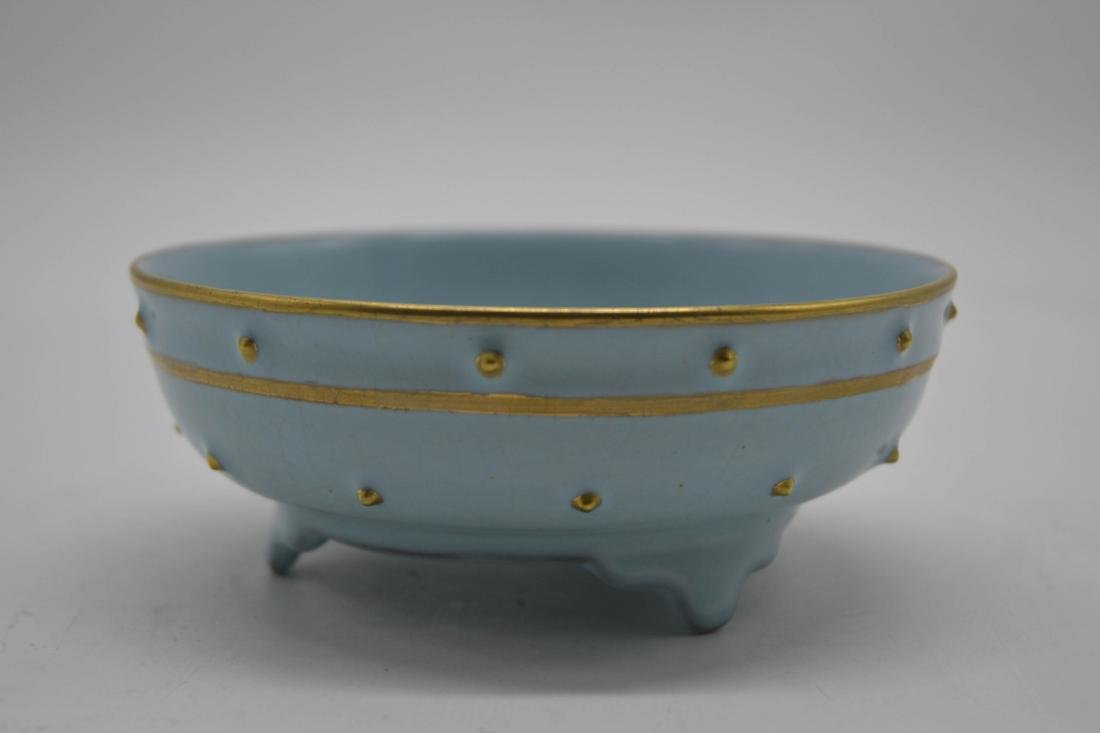Chinese Sky Blue Glaze Porcelain Washer - 5