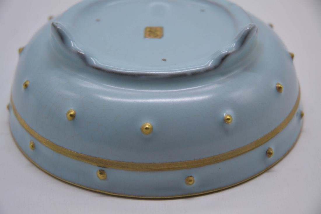 Chinese Sky Blue Glaze Porcelain Washer - 6