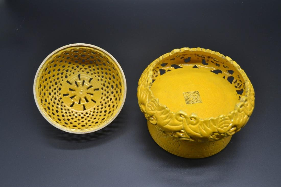 Chinese Yellow Glaze Porcelain  Aroma Holder