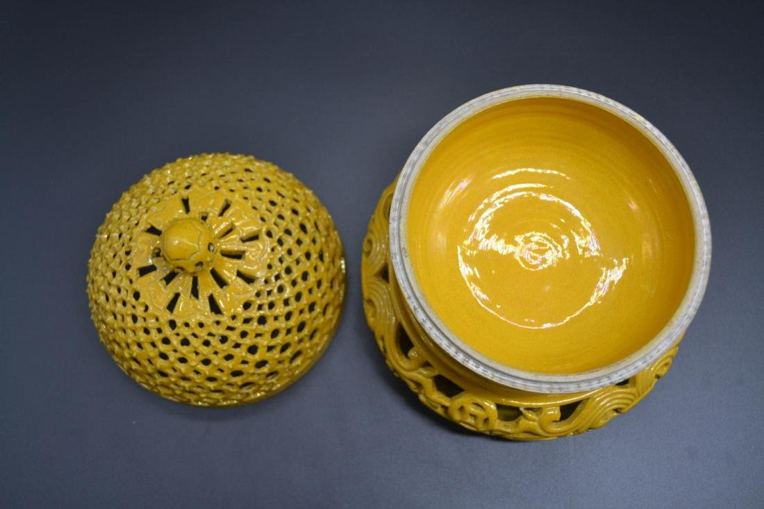 Chinese Yellow Glaze Porcelain  Aroma Holder - 4