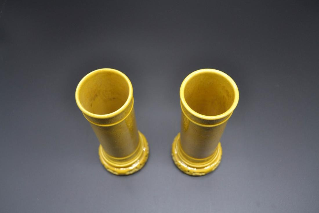 Pair Of Yellow Glaze Porcelain Aroma Holder - 3