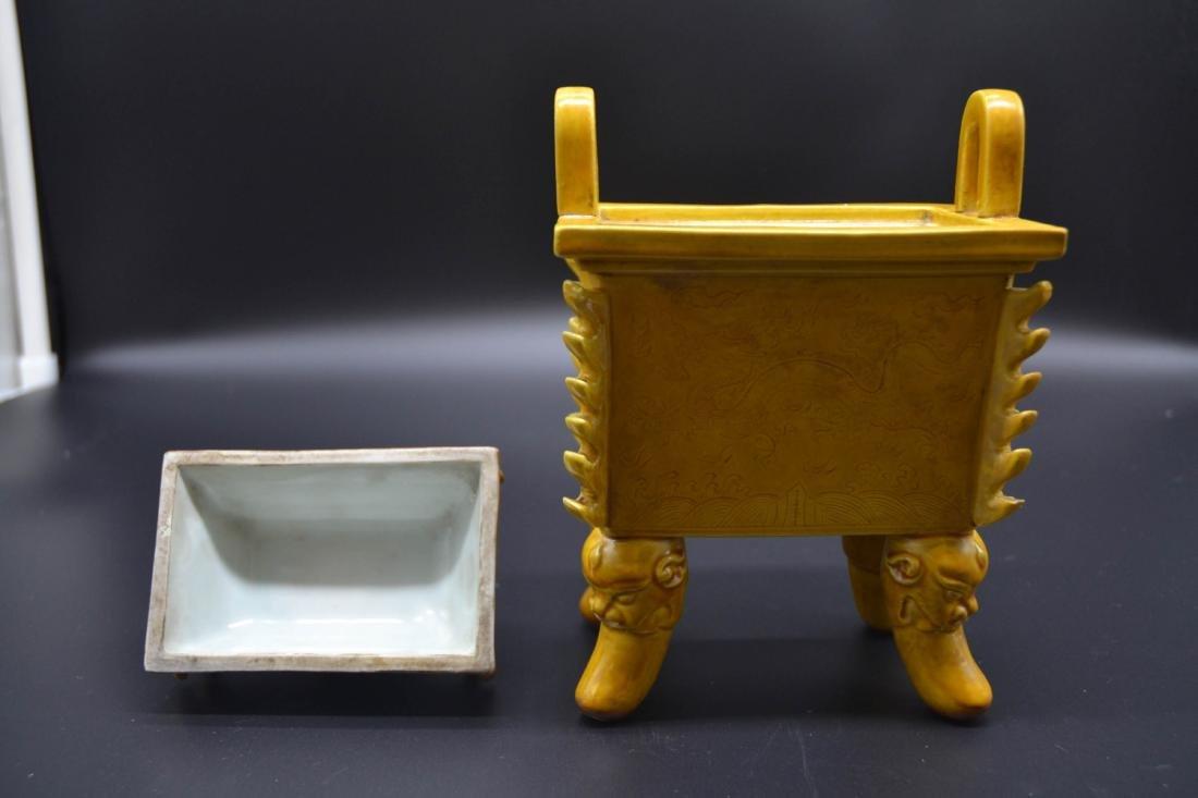 Chinese Yellow Glaze Porcelain Burner