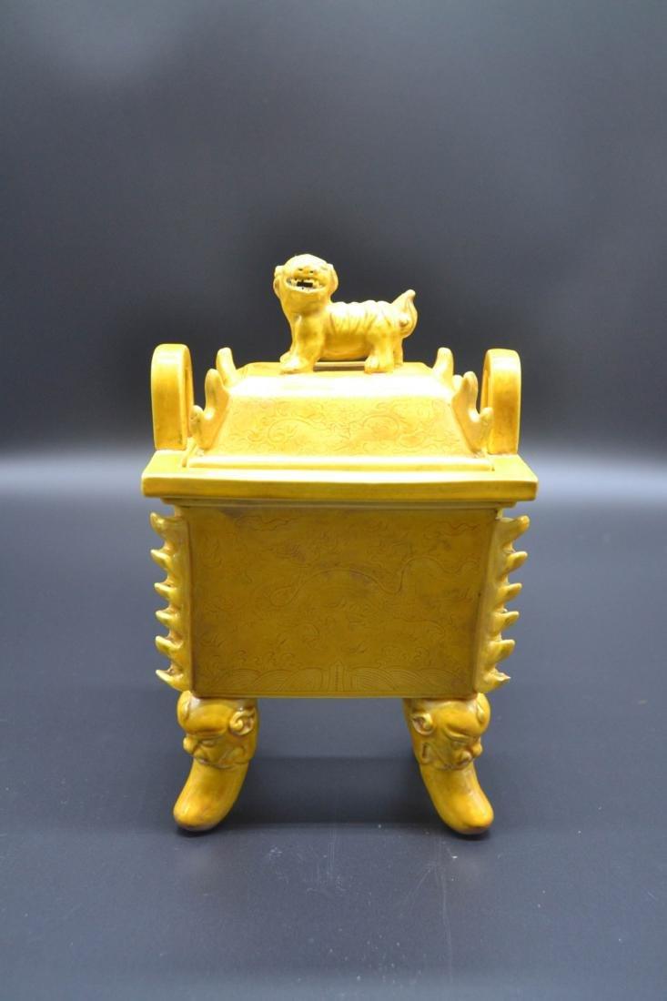 Chinese Yellow Glaze Porcelain Burner - 2
