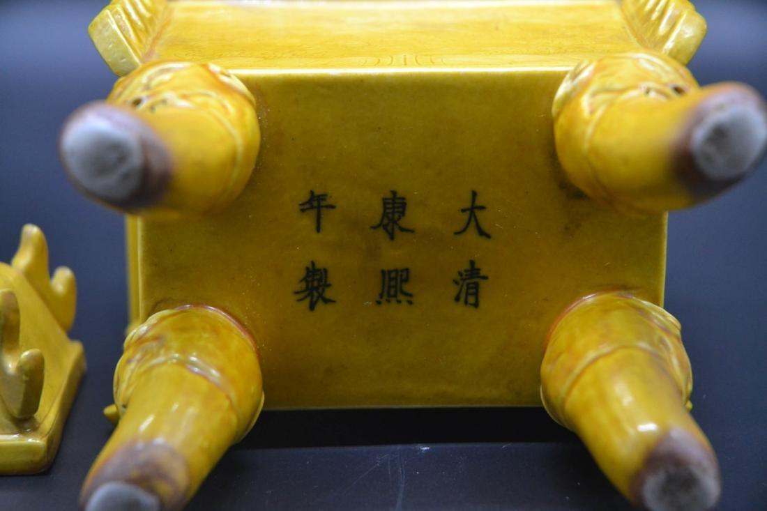Chinese Yellow Glaze Porcelain Burner - 3