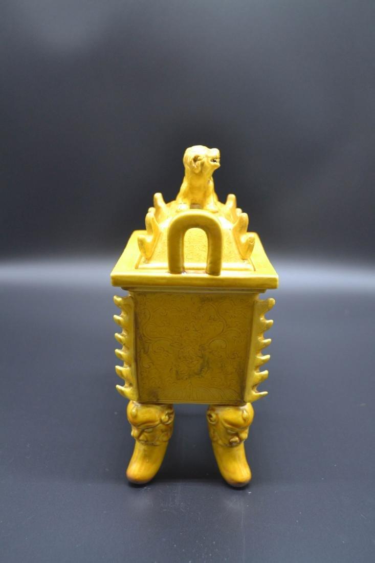 Chinese Yellow Glaze Porcelain Burner - 4