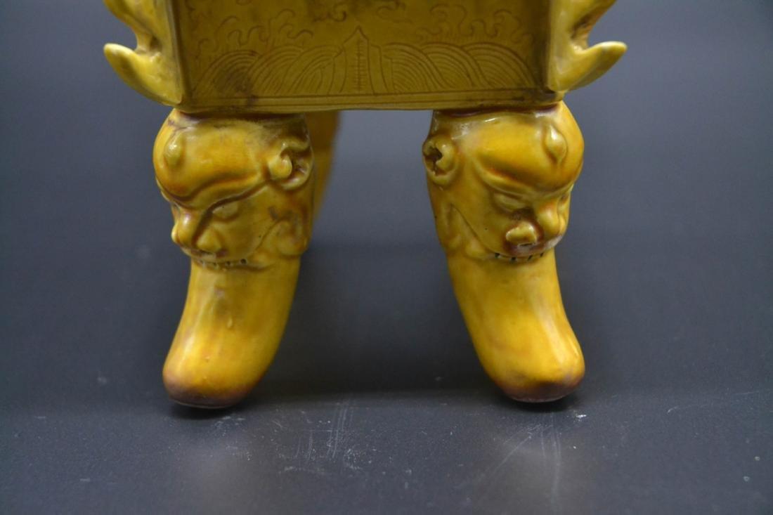 Chinese Yellow Glaze Porcelain Burner - 5
