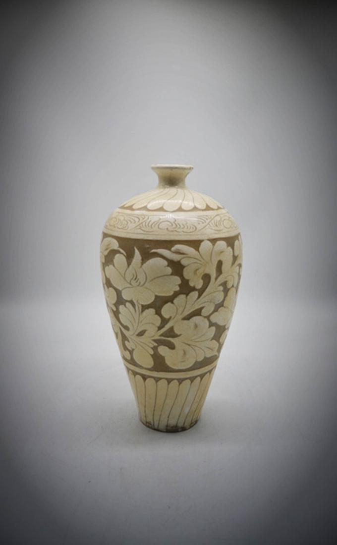 Chinese Ci Zhou WarePorcelain Floral Vase