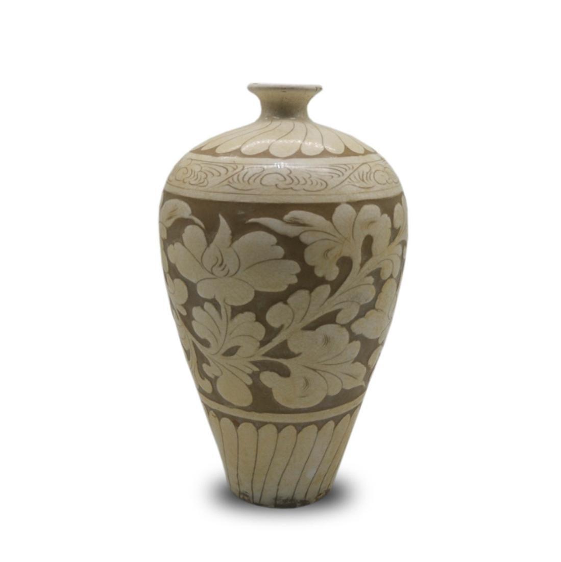 Chinese Ci Zhou WarePorcelain Floral Vase - 2