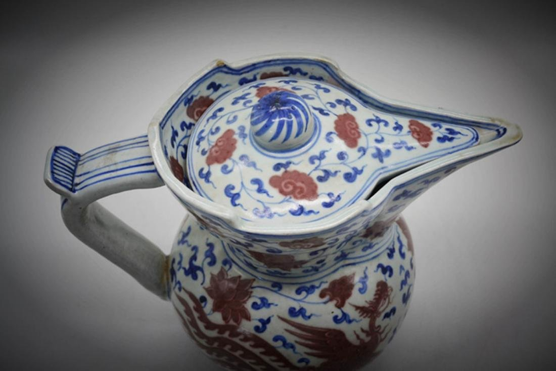 Chinese Blue/White Copper Red Glaze Pot - 3