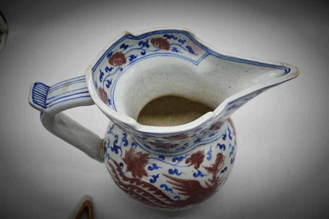 Chinese Blue/White Copper Red Glaze Pot - 4