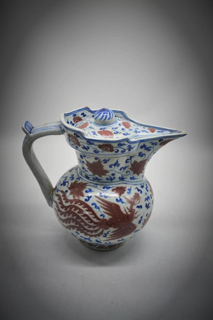 Chinese Blue/White Copper Red Glaze Pot - 7