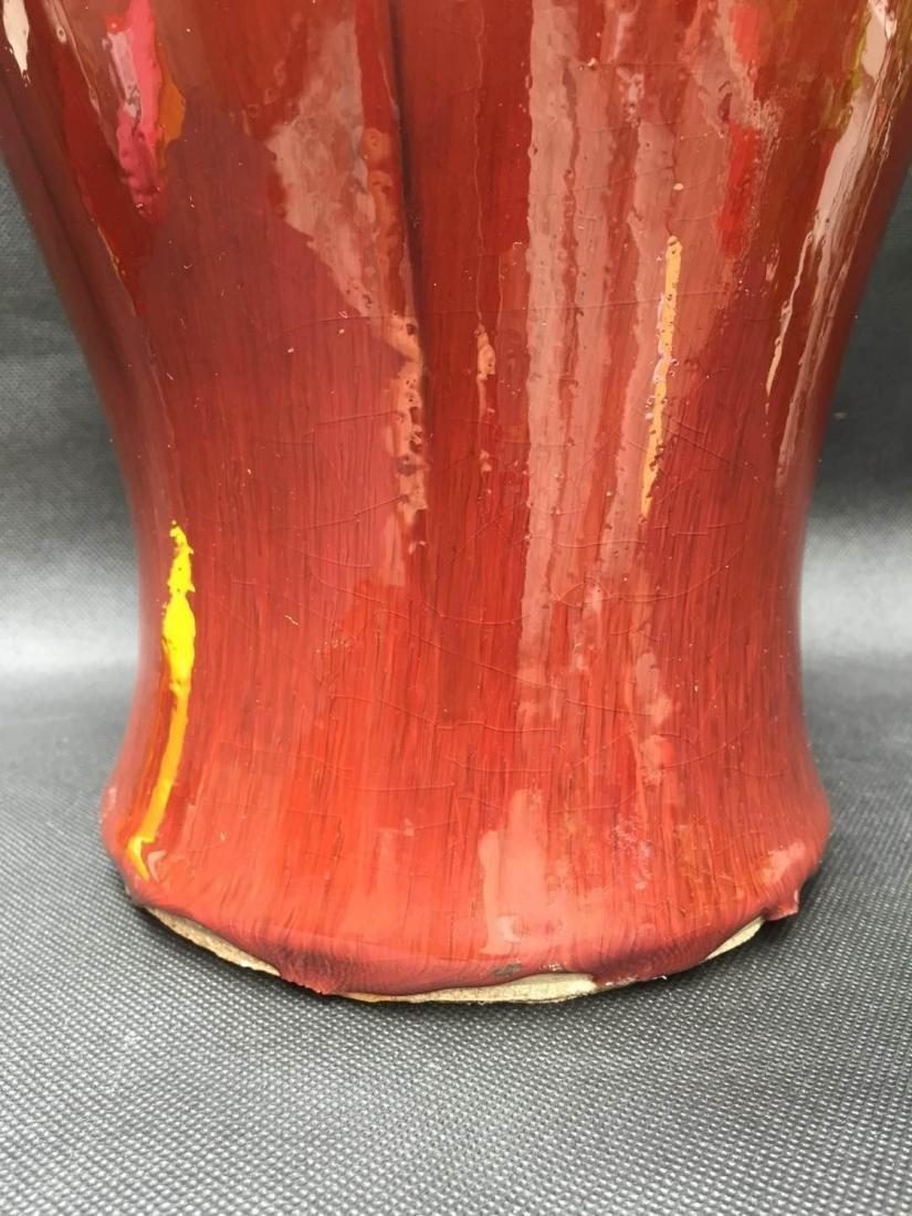 Chinese Lang Ware Red Guan Yin Vase - 3