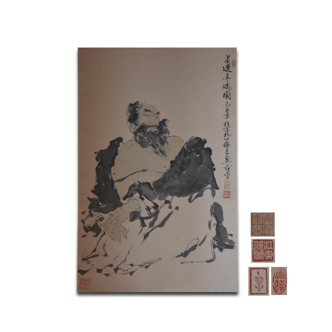 Chinese Ink/Color Scroll Painting,Signed