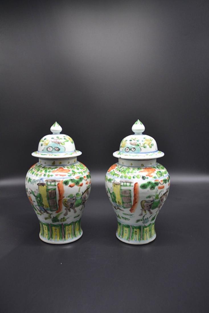 Pair Of Chinese Wu Cai Porcelain General Jar - 2