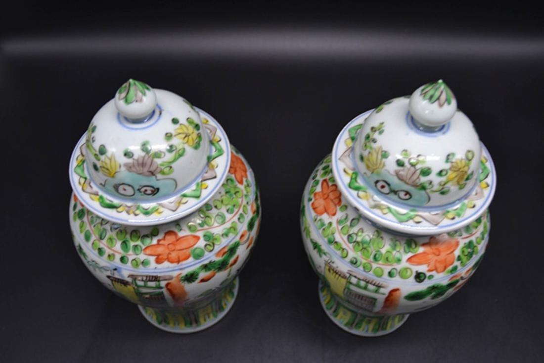 Pair Of Chinese Wu Cai Porcelain General Jar - 4