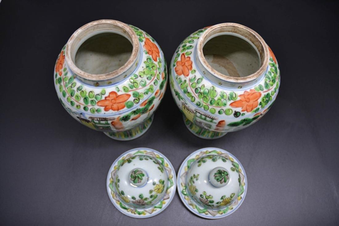 Pair Of Chinese Wu Cai Porcelain General Jar - 5