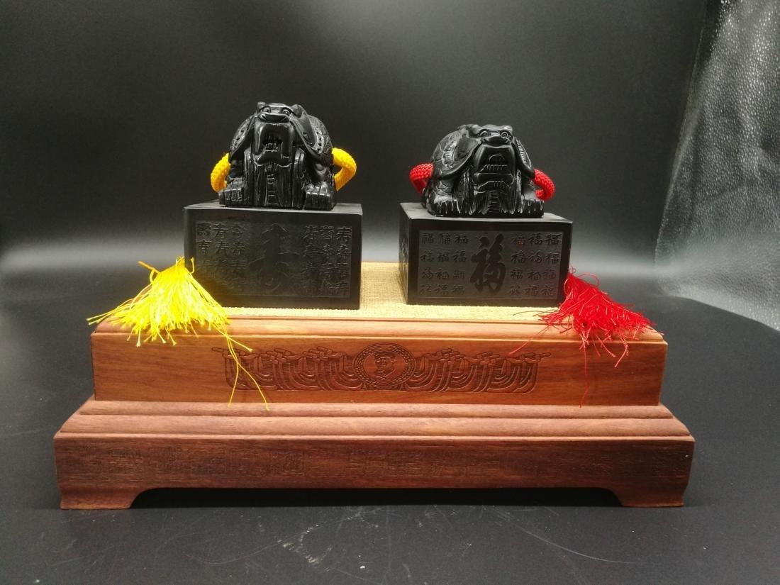 Pair Of  Chinese Fu Shou Seal - 4