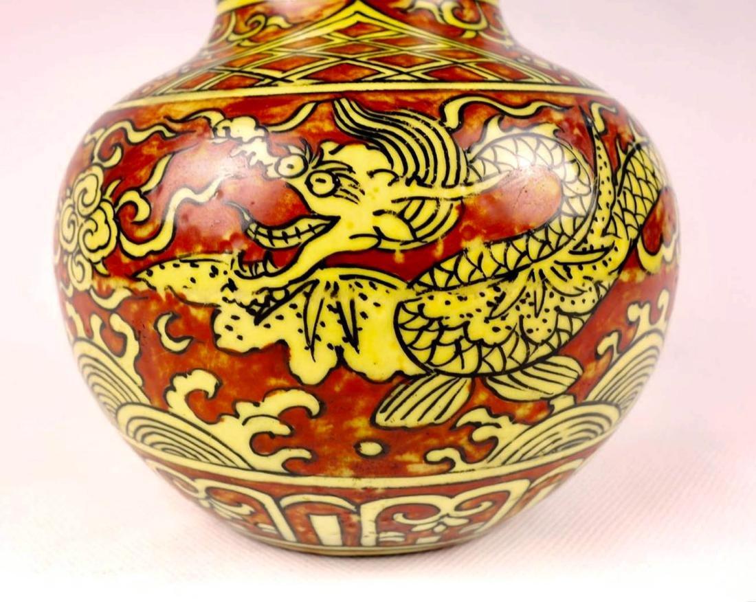 Chinese Red Underglaze Porcelain Gourd Vase - 3