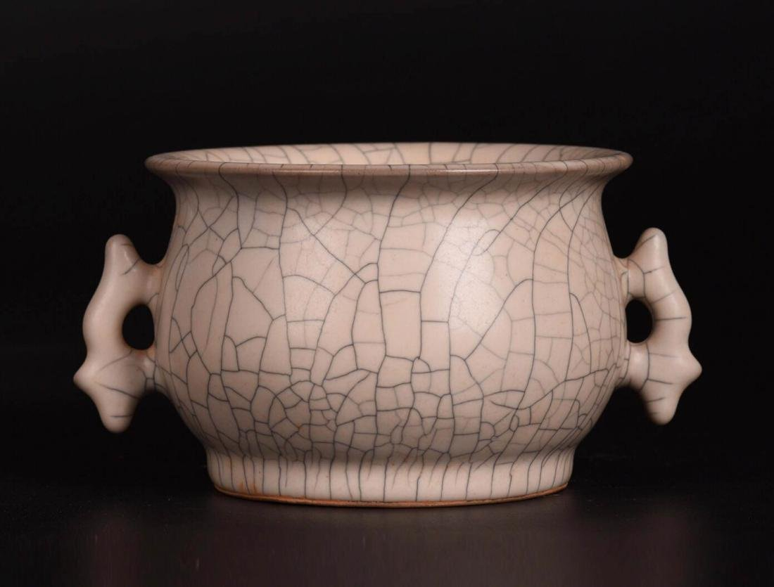 Chinese Ge Glaze Double Ears Porcelain Burner