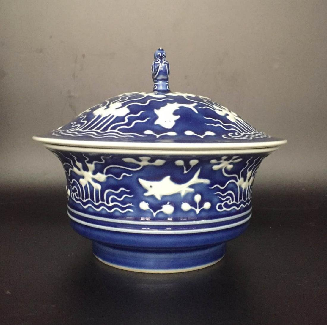 Chinese Blue Underglaze Porcelain Cover Bowl - 2