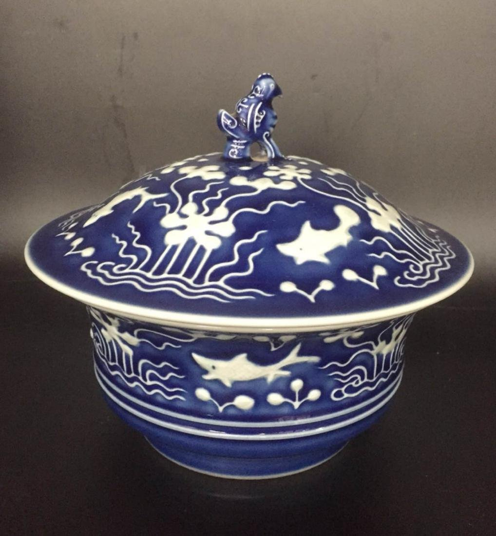 Chinese Blue Underglaze Porcelain Cover Bowl - 4
