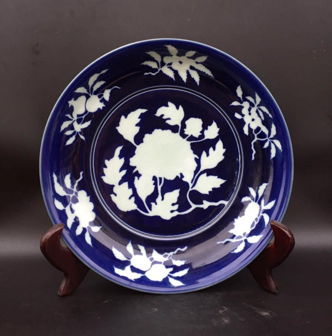 Chinese Dark Blue Glaze Porcelain Charger