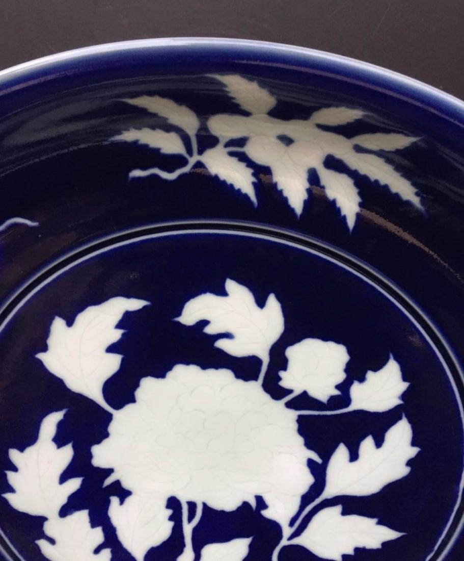 Chinese Dark Blue Glaze Porcelain Charger - 3
