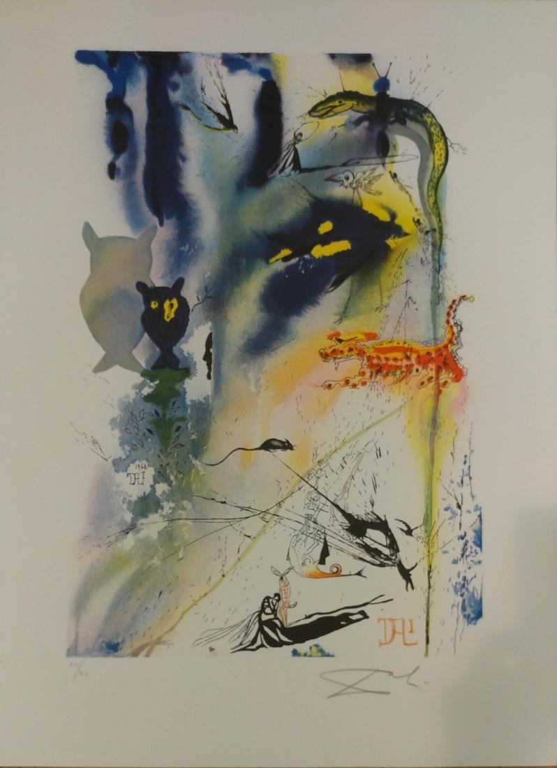 "Dali Color Lithograph ""Alice In Wonderland"",Signed"