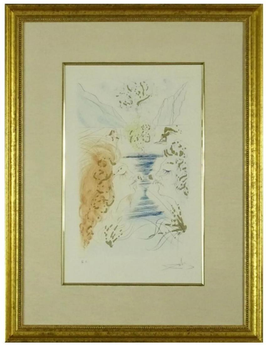 """Dali Spanish (1904-1989)Color Etching """"Kiss"""""""