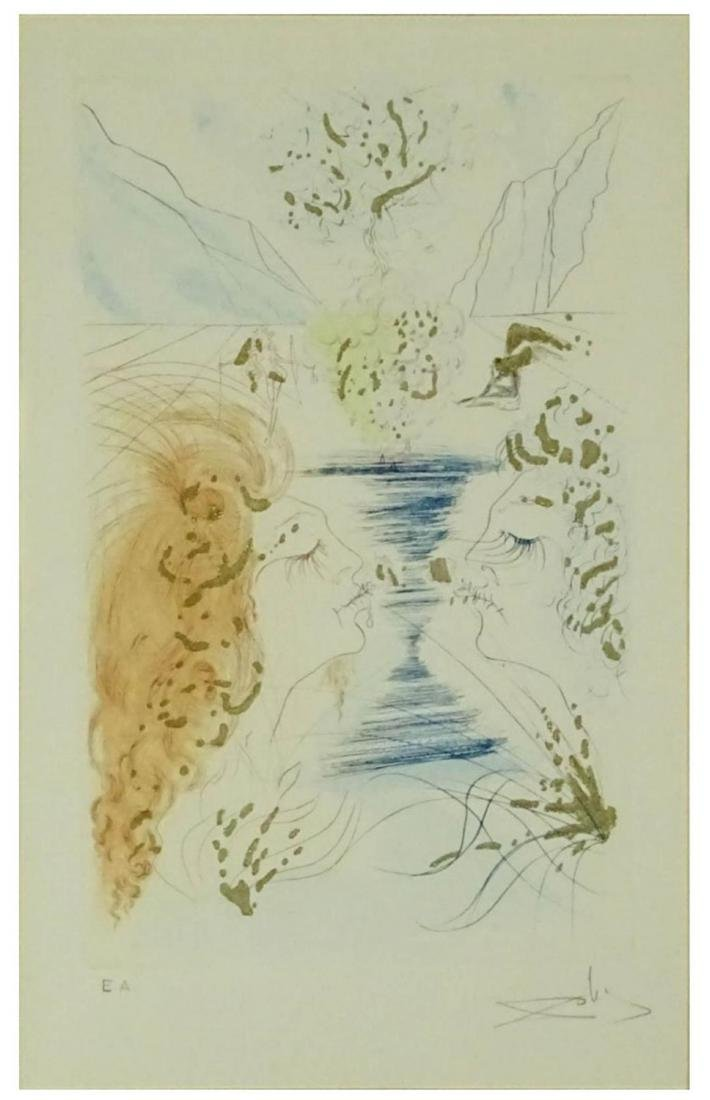 "Dali Spanish (1904-1989)Color Etching ""Kiss"" - 4"