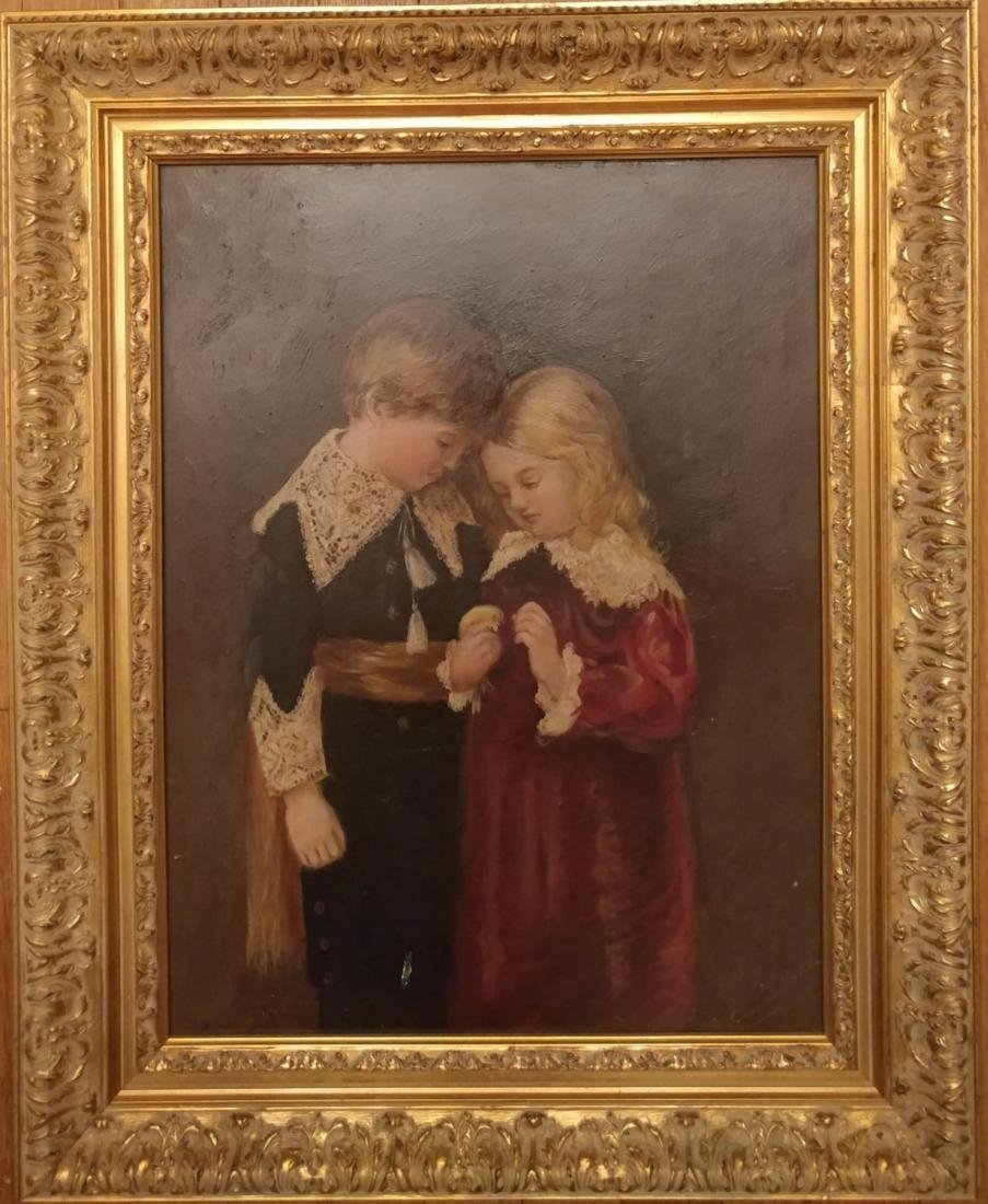 Antique Oil on Board of Girl and Boy signed