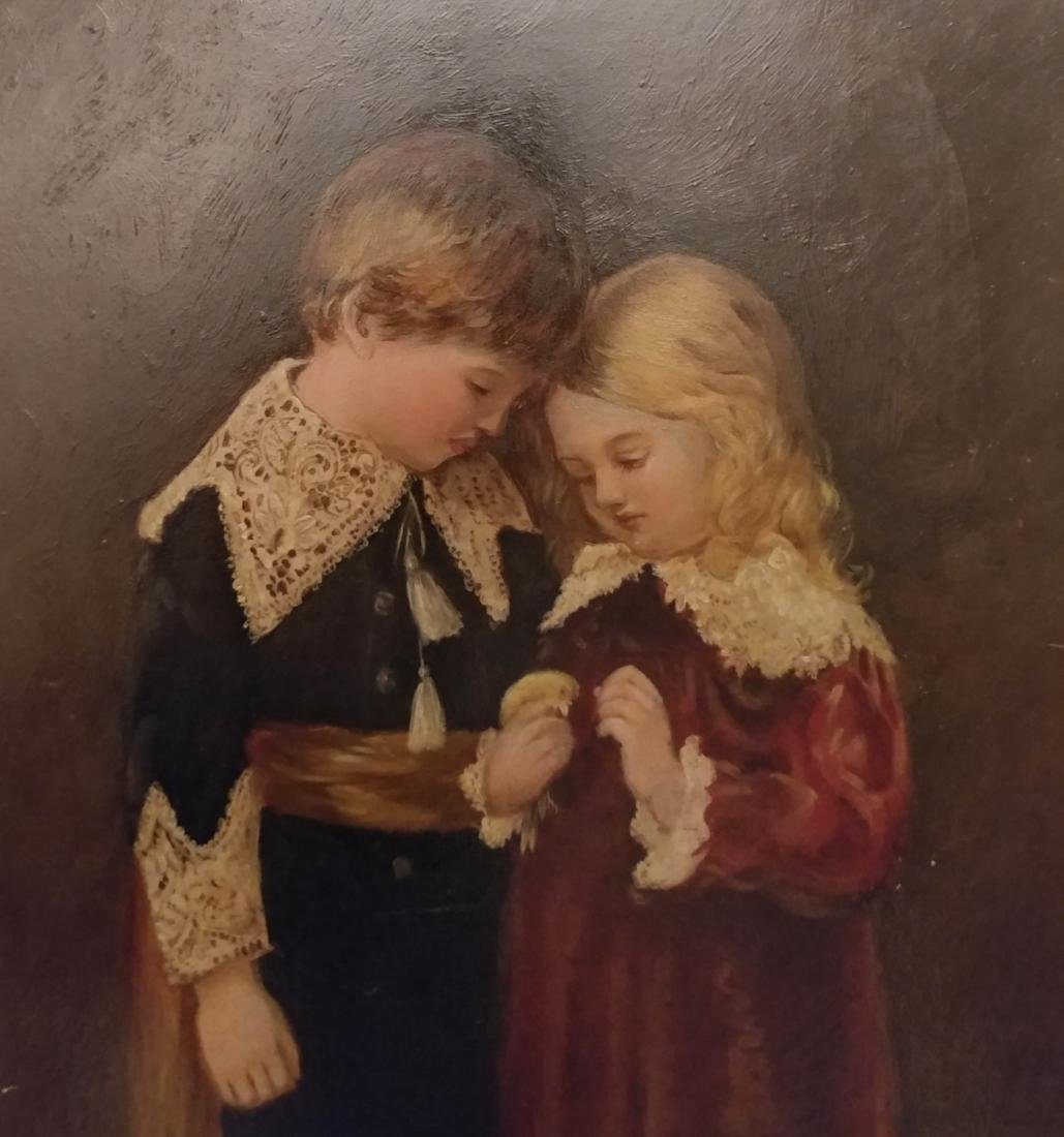 Antique Oil on Board of Girl and Boy signed - 2