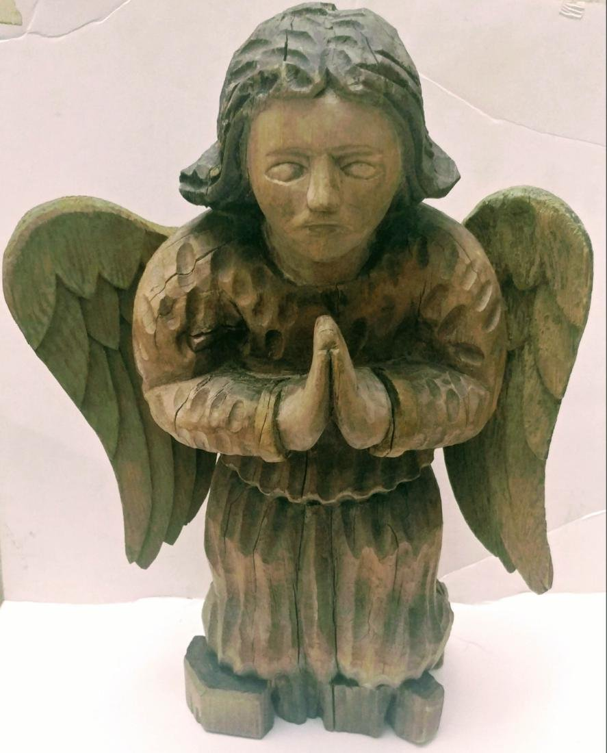 19c Wood Hand Carved Guardian Angel.