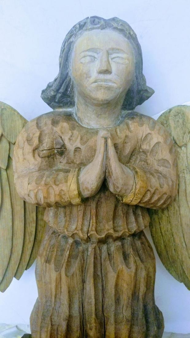 19c Wood Hand Carved Guardian Angel. - 2