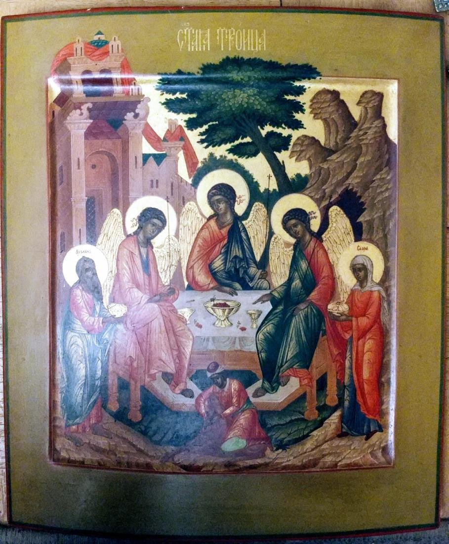 _x000D_ Antique Russian icon of Trinity.