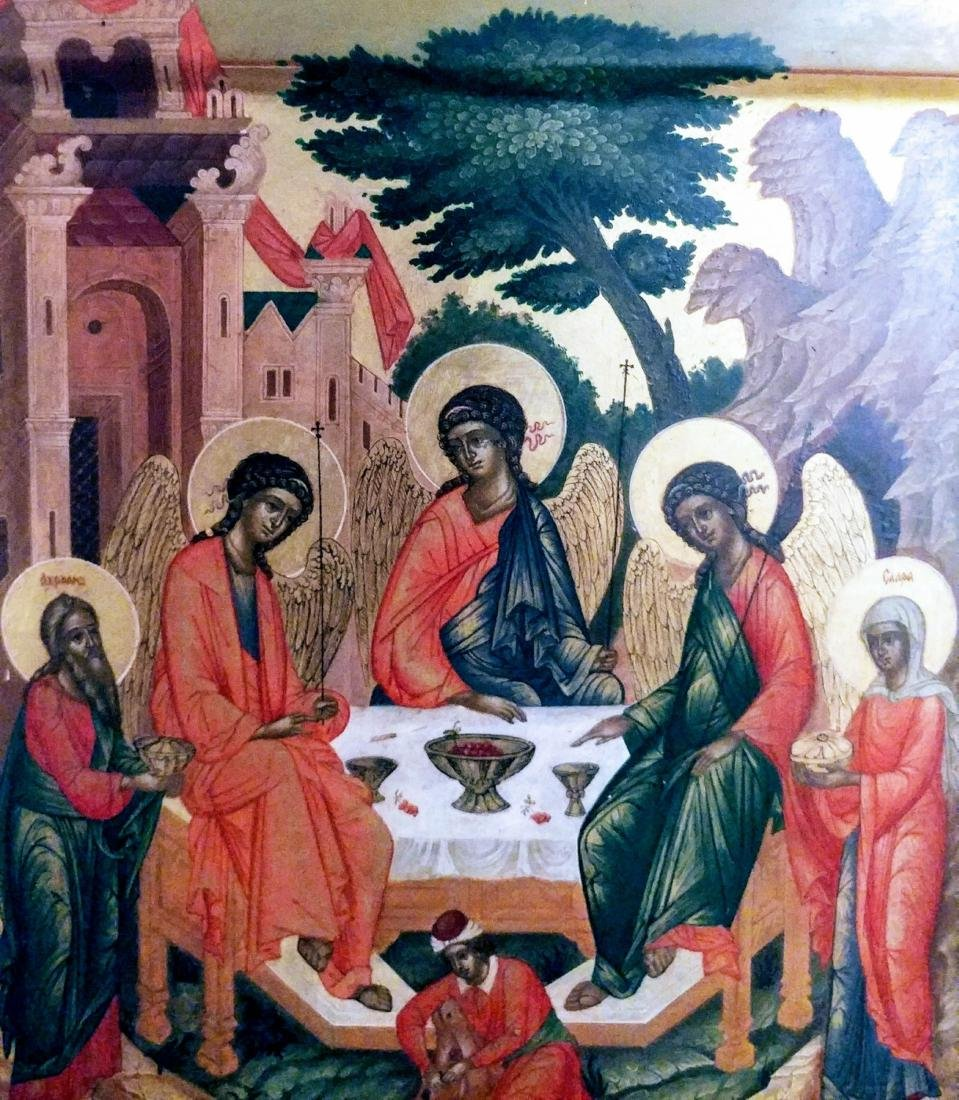 _x000D_ Antique Russian icon of Trinity. - 2