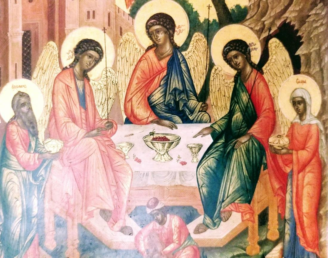 _x000D_ Antique Russian icon of Trinity. - 3