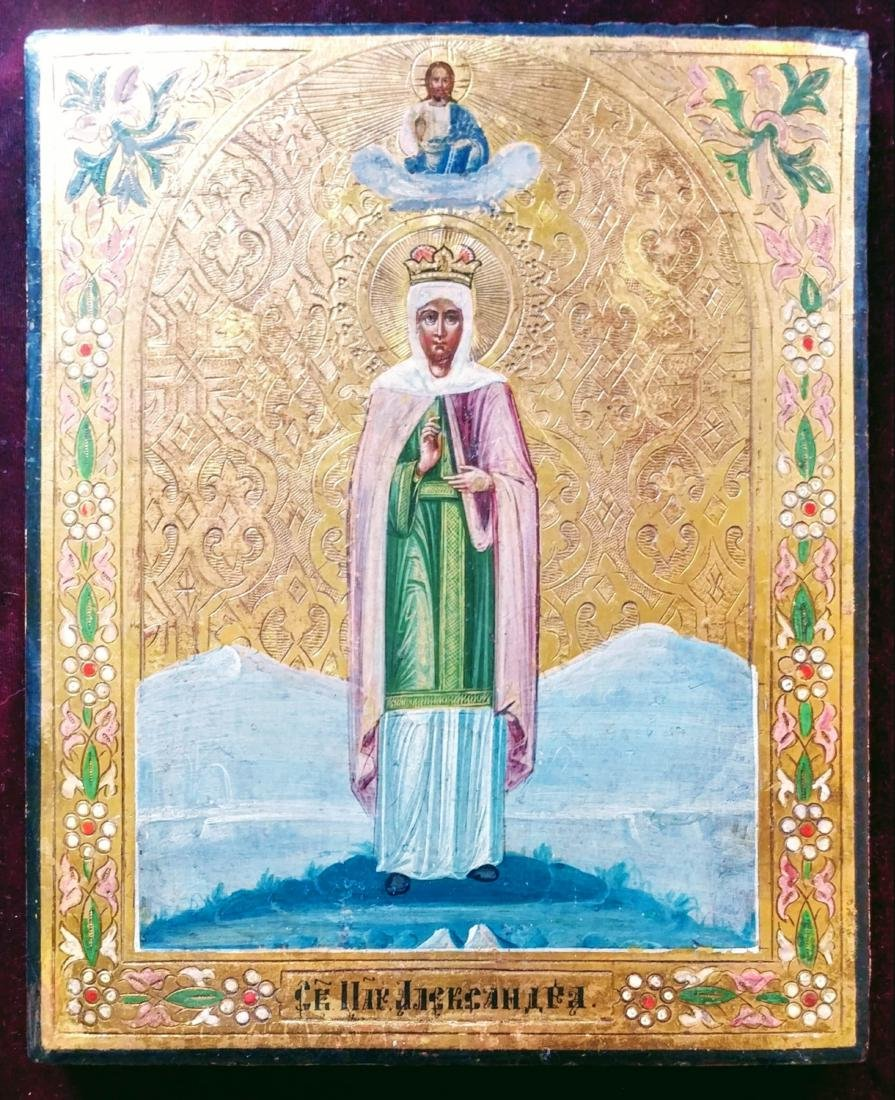 19c Russian icon of Alexandra on Gold.