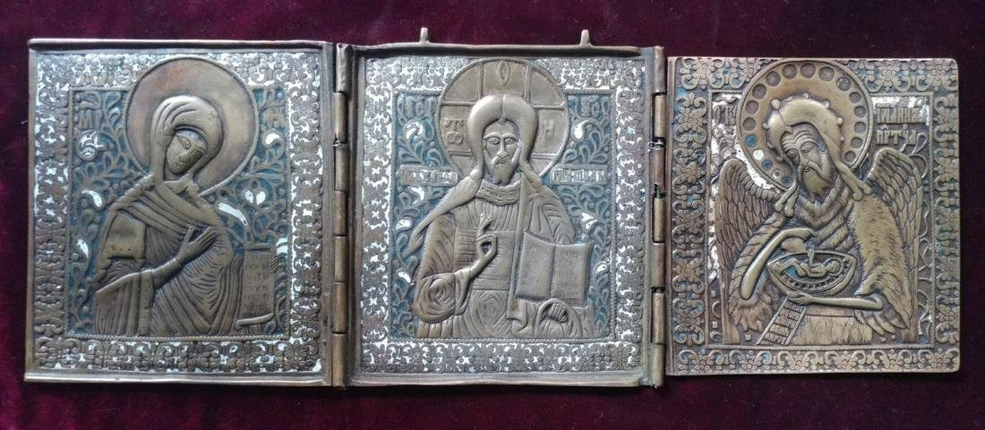 Antique Bronze Color Enamel Russian Tryptic.