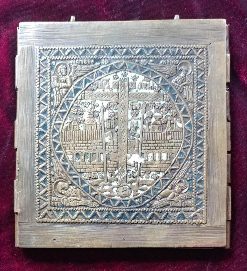 Antique Bronze Color Enamel Russian Tryptic. - 6