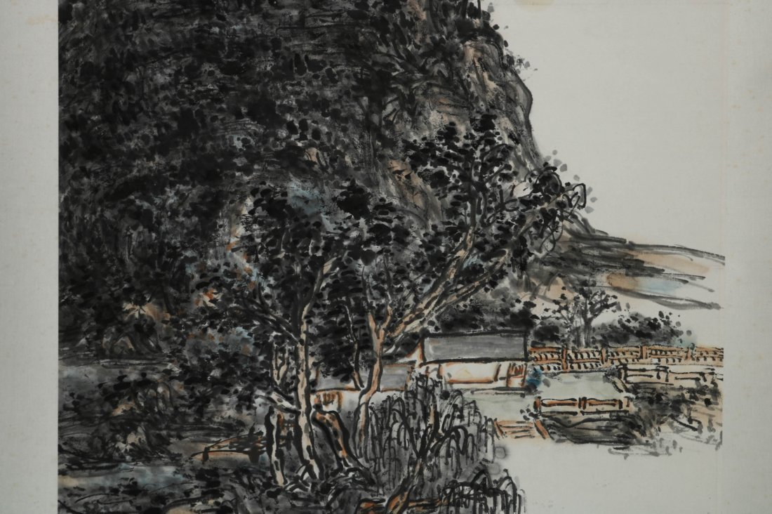 Chinese Watercolor Scroll Painting, Signed - 4