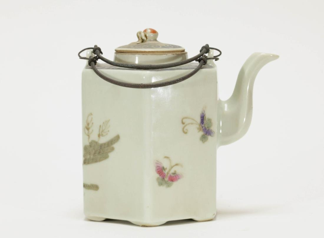 Chinese Early 20th C. Porcelain Teapot - 3