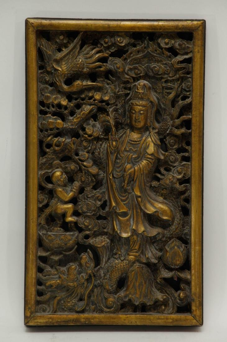 Chinese Wood Carved of Guanyin and Boy