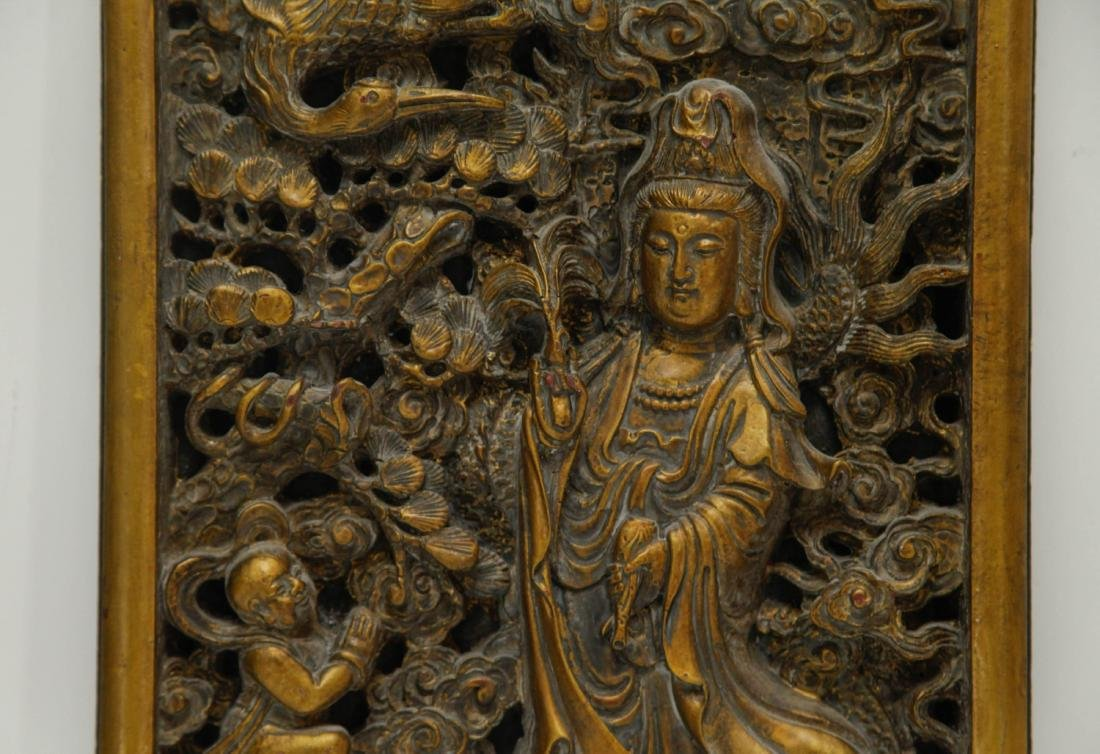 Chinese Wood Carved of Guanyin and Boy - 3